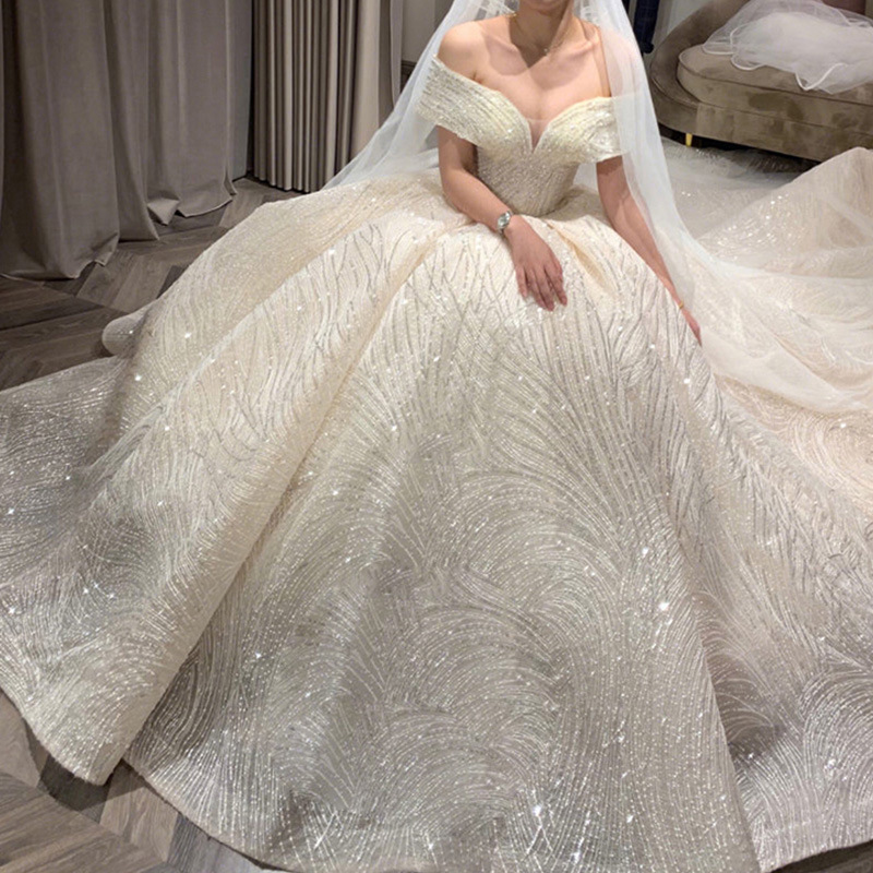 Cathedral Train Long Tail Wedding Dresses Off The Shoulder Shiny Lace Dreamy Princess Wedding Gowns Ball Gown Bridal Dresses