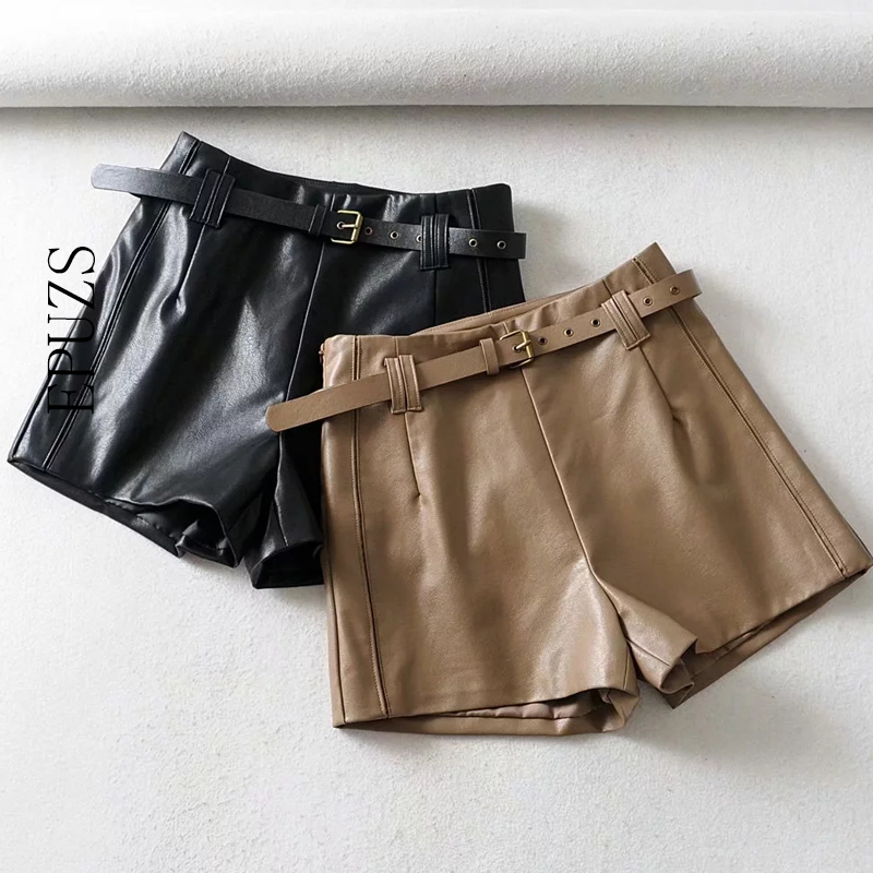 Fashion Belt Black Leather Shorts Women High Waist Short Pants Streetwear Sexy Mini Shorts Feminino 2019 Womens Shorts