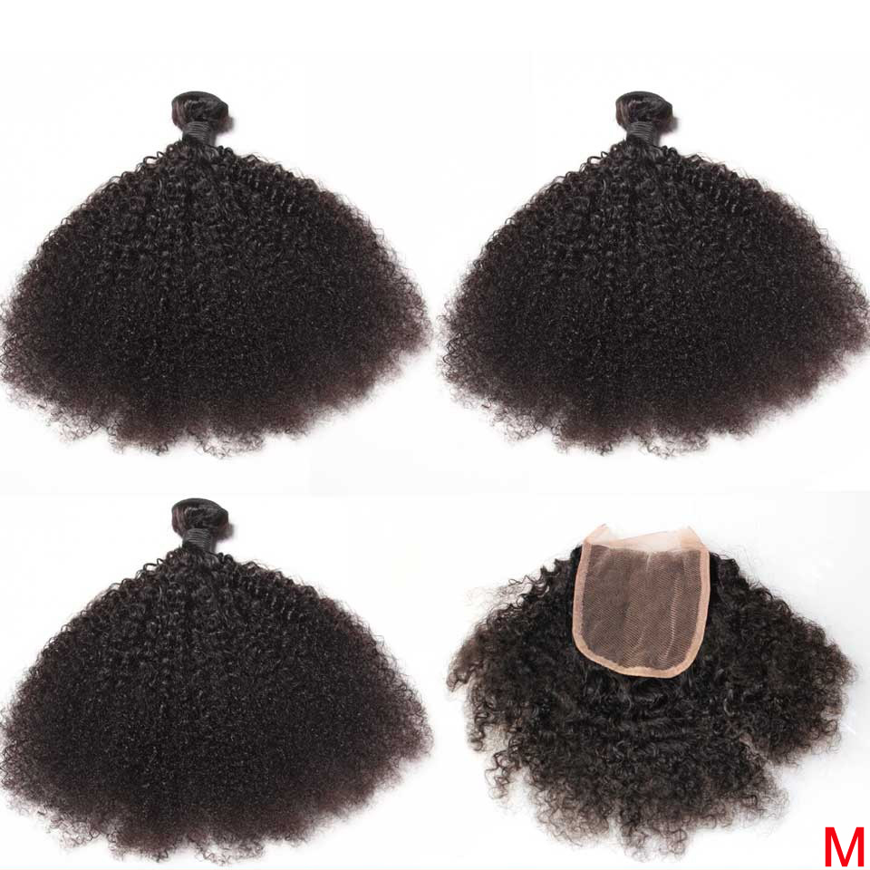 Mongolian Afro Kinky Curly Hair Weave Bundles With Closure 100% Human Hair 3/4 Bundles With 4x4 Closure Hair Extensions Remy