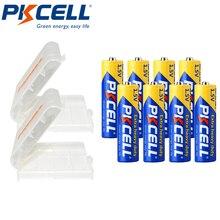 8Pcs PKCELL aa Batteria Super Heavy Duty AA R6P UM3 MN1500 E91 1.5v Batterie di pile Imballato Con 2 pezzo Contenitore di Batteria