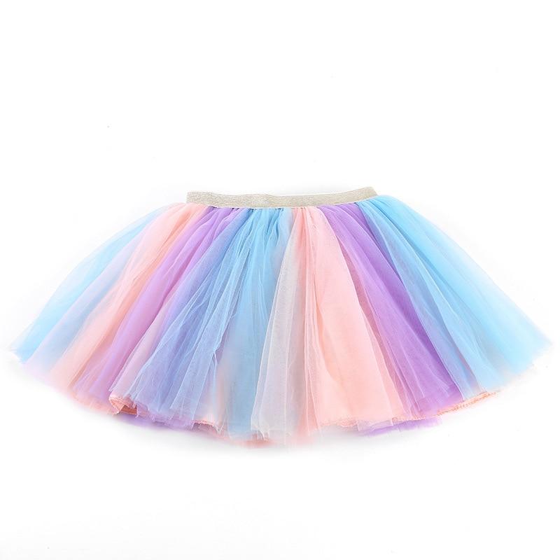 Юбки для девочек, детская балетная танцевальная Радужная пачка, бальное платье с блестками и принтом звезд, праздвечерние чная одежда, детс...