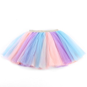 Girls Skirts Baby Ballet Dance Rainbow Tutu Toddler Star Glitter Printed Ball Gown Party Clothes Kids Skirt Children Clothes(China)