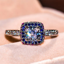 Charm Female Rainbow Zircon Stone Ring Fashion Promise Wedding Engagement Rings For Women 925 Silver Color Big Crystal Ring(China)