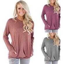 T-shirt tinta unita tasca manica lunga pipistrello girocollo donna autunno e inverno 2020 11 colori