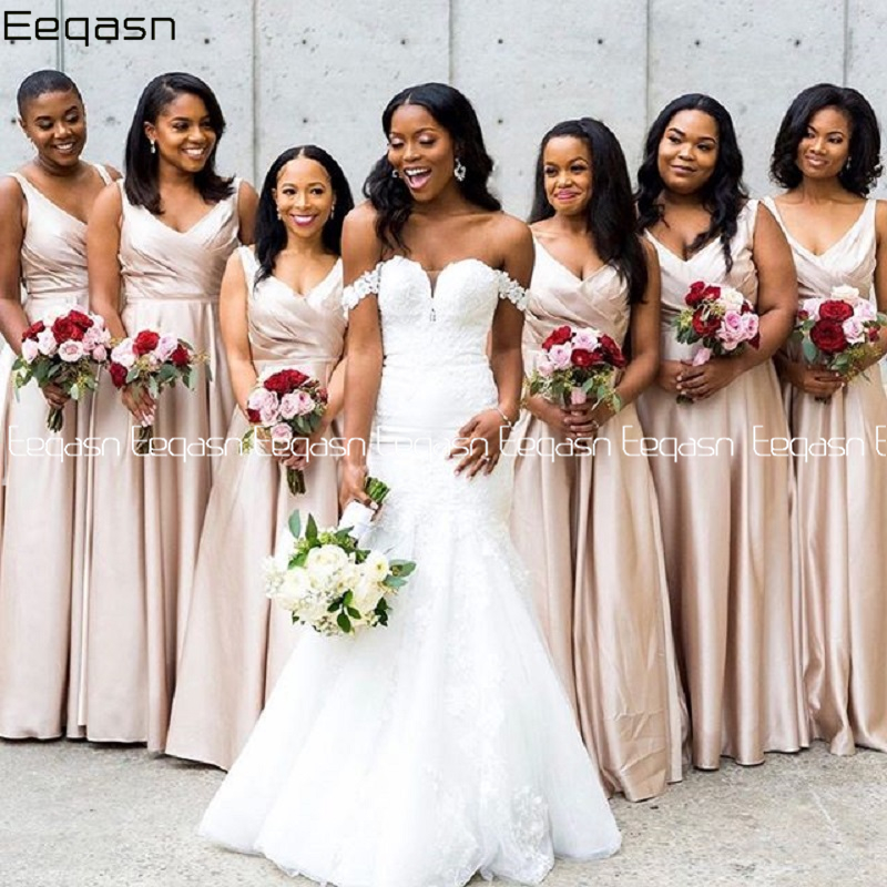 Bridesmaid Dress 2020 Floor Length Wedding Party Gowns Satin Long Formal Bridesmaid Dresses Cheap Plus Size