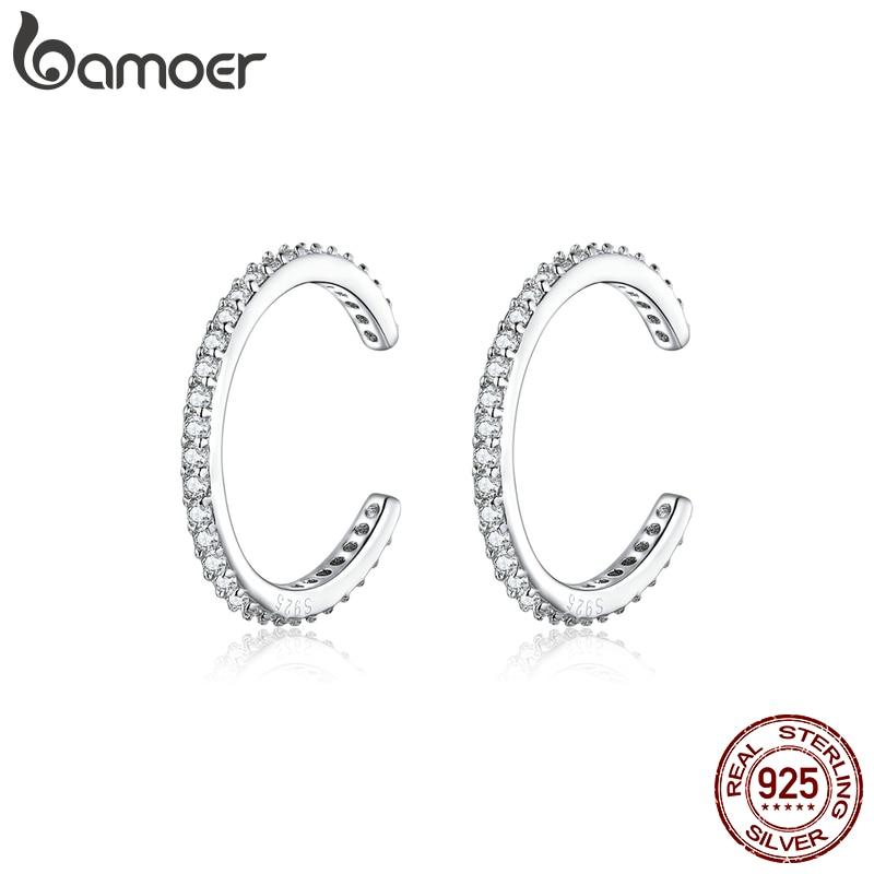 Bamoer 925 Sterling Silver Ear Cuff For Women Without Piercing Earrings Jewelry Earcuff Real Silver Fashion Jewelry SCE842