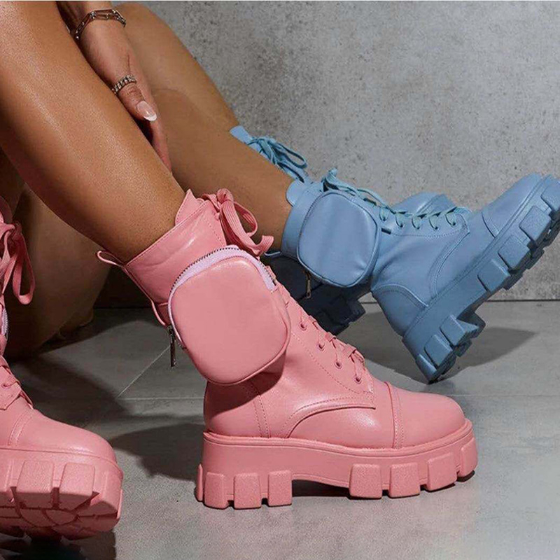 Siddons 2020 New Boots Women Fashion Pocket Platform Boots Chunky Side Zipper Motorcycle Boots Autumn Winter Casual Shoes Woman