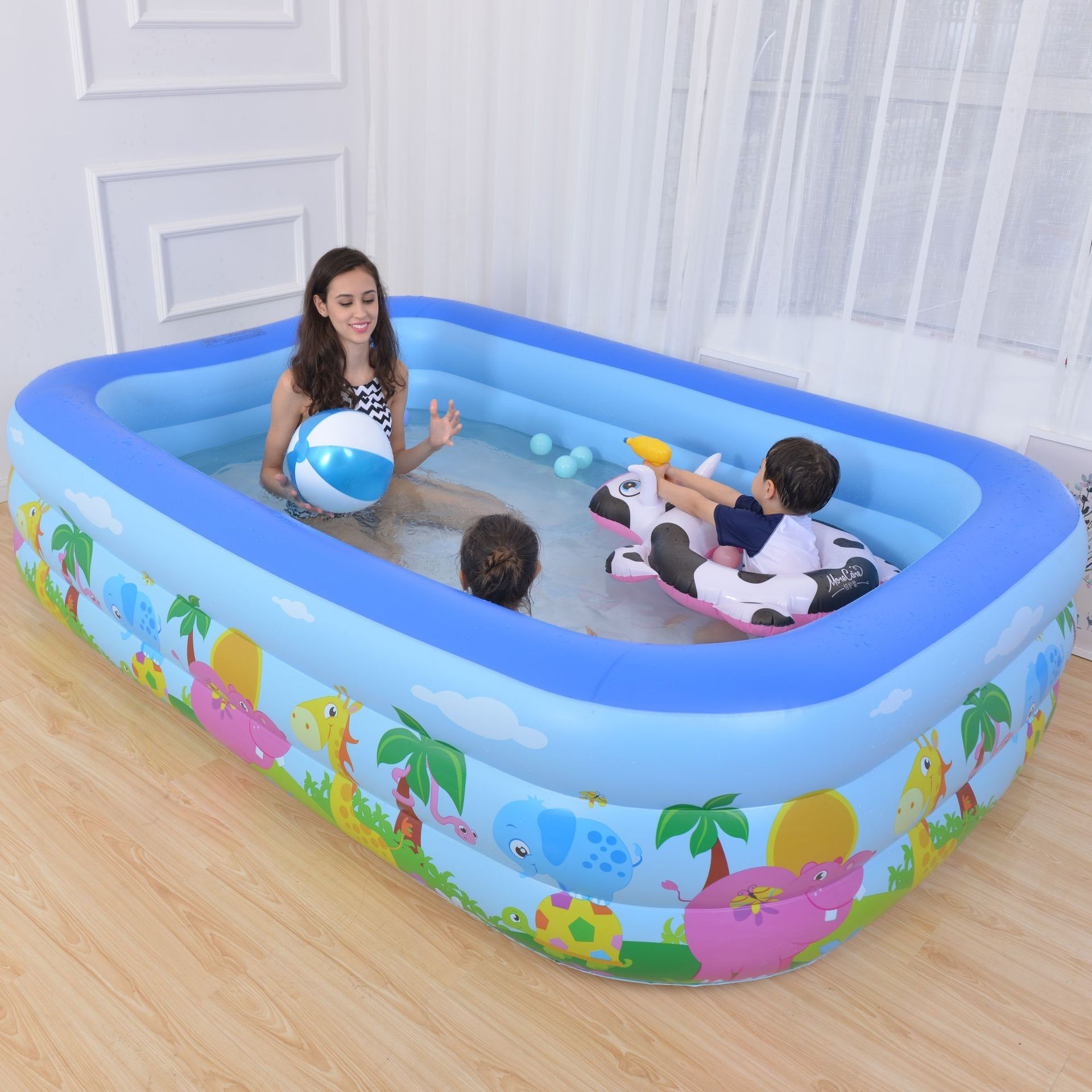 Inflatable Swim Center Family Lounge Pool Animal Kids Rectangular 3 Rings Pool Children's Summer Water Play Swim Pool