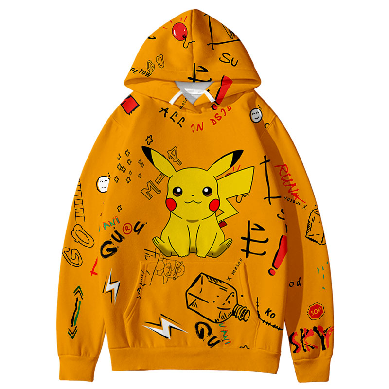 Pokemon Hooide Anime Harajuku Sweatshirts 3D Pokemon cute Leisure popular Graffiti Design Boy/Girl Hooded Coats Students Hoodie 3