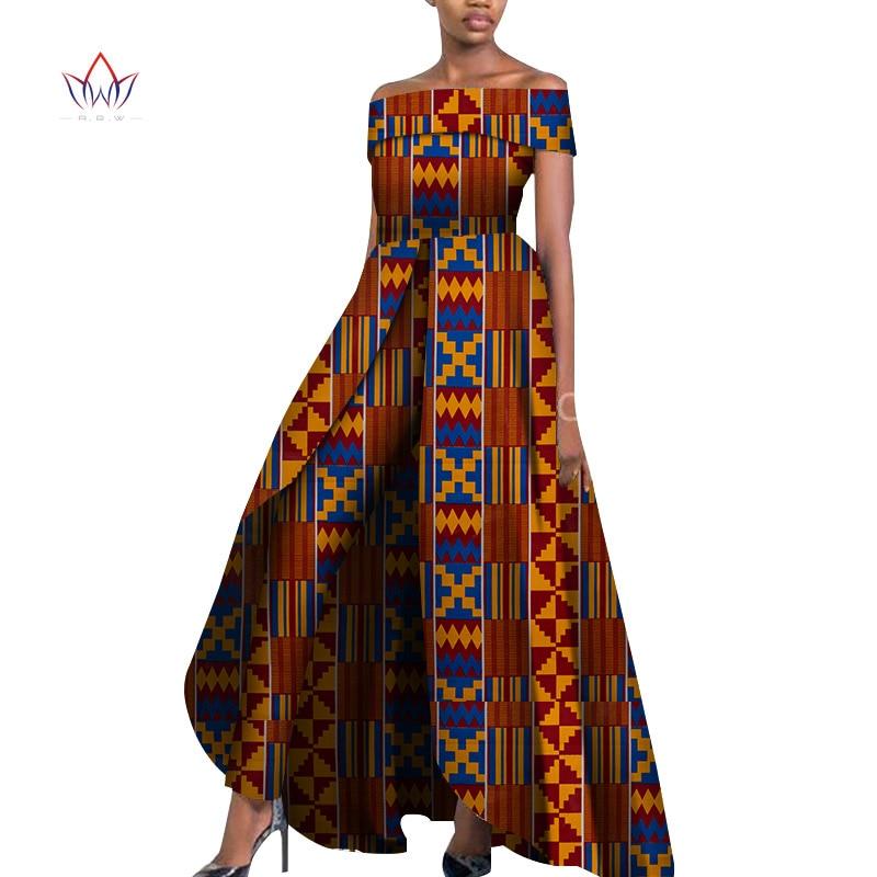 African Design Bazin Off Shoulder Elegant Women Rompers Jumpsuit Sleeveless Rompers Jumpsuit Long Dashiki Pants Plus Size Wy6184