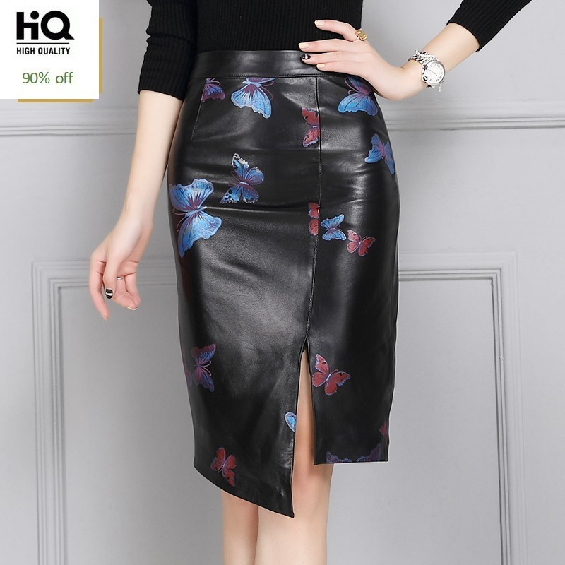 2020 New Arrival Woman Skirts High Quality Leather Wrap Skirts Fashion Printing Floral Female High Waist Skirts Plus Size S-4XL