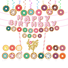 Paper Donut Grow UP Cake Toppers Glitter Gold Two Sweet Cupcake Topper  Happy Birthday Pull Flower Flag Banner Spiral Hanging D