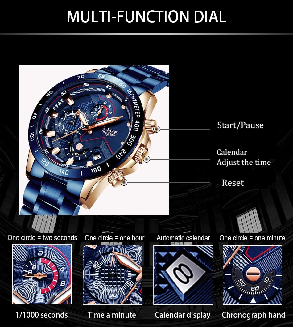 H5bf2a50a37b7439bb8cfc5c26cd2369et LIGE Men Watches Top Brand Luxury Stainless Steel Blue Waterproof Quartz Watch Men Fashion Chronograph Male Sport Military Watch