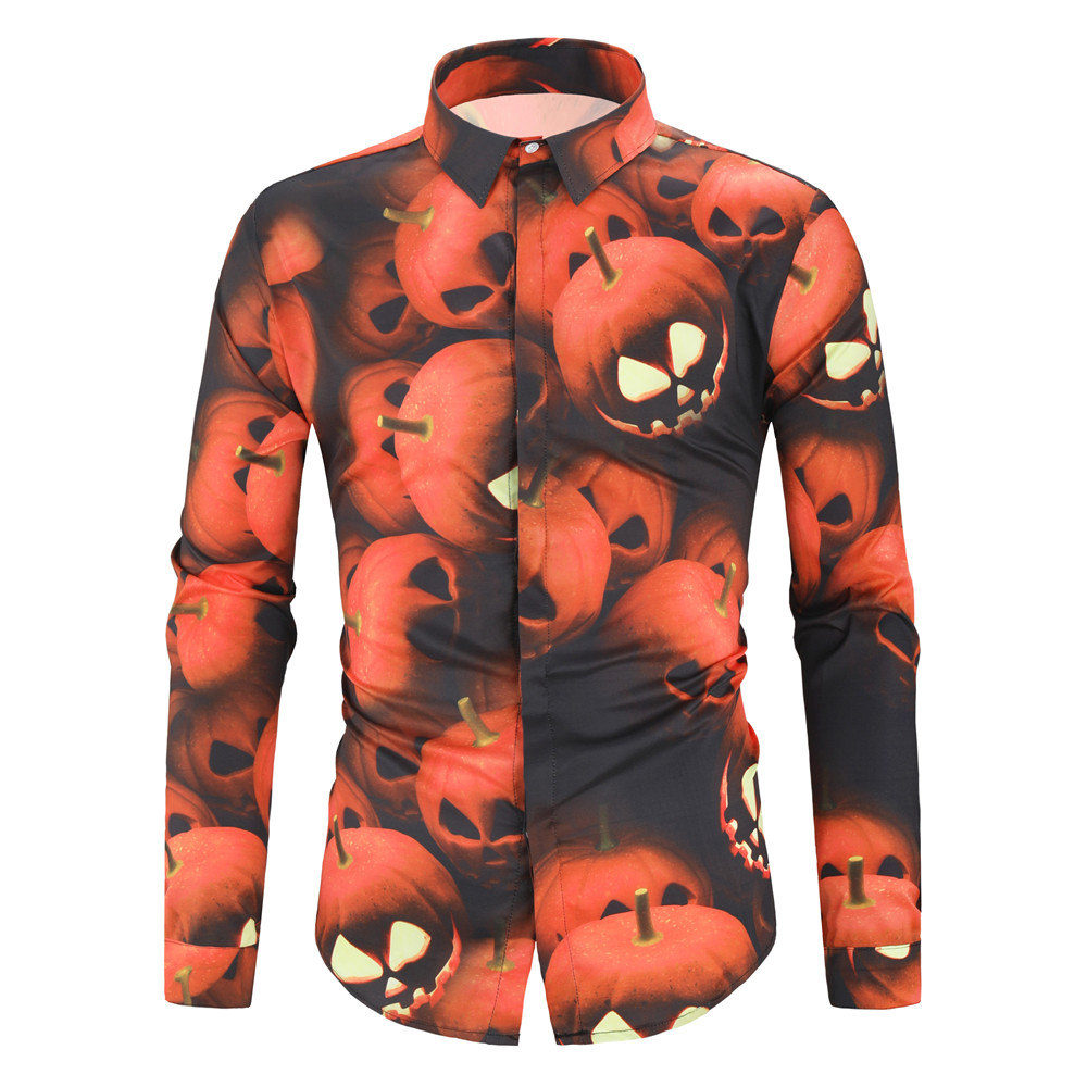 Halloween Novelty Shirt Men 2019 Autumn Pumpkin Print Long Sleeve Lapel Casual Shirts Hidden Button Cotton Hip Hop Streetwear