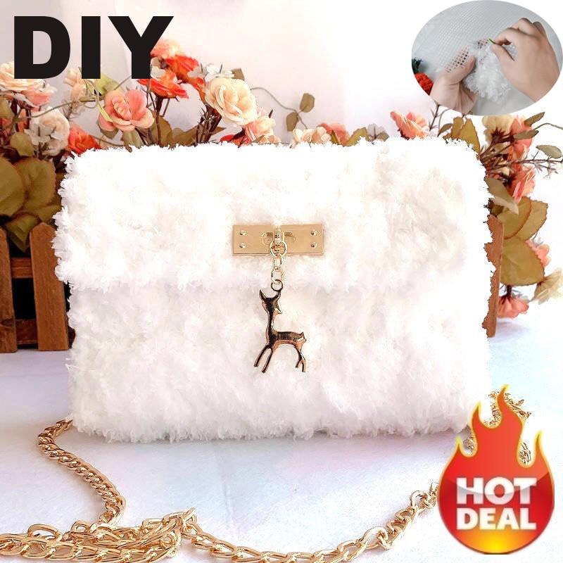 NEW DIY Funny Bags For Women 2020 Crossbody Bags For Women Designer Handbags Knitting Luxury Brand Bag Plush Chain Bag