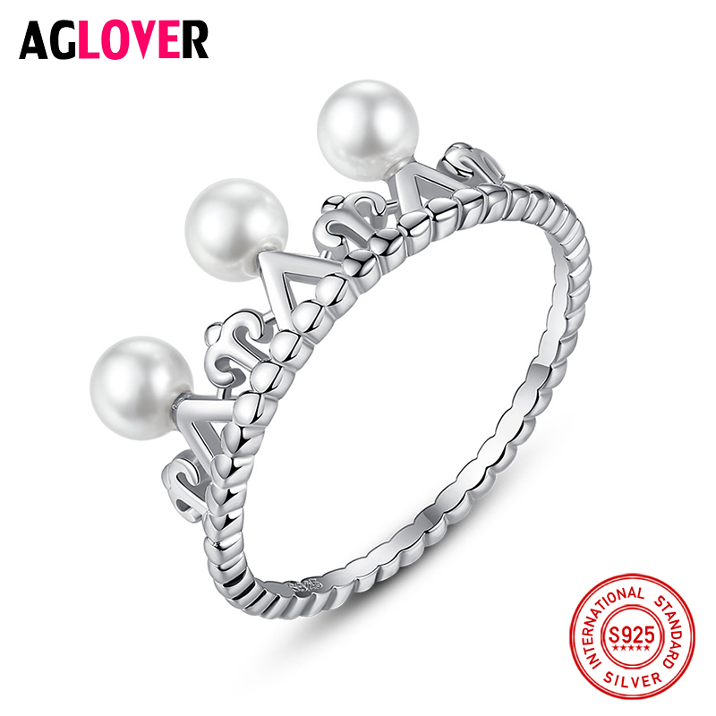 AGLOVER 925 Sterling Silver Crown Ring Natural Freshwater Pearl Ring Charm Jewelry Women Wedding Gifts High Quality Wholesale