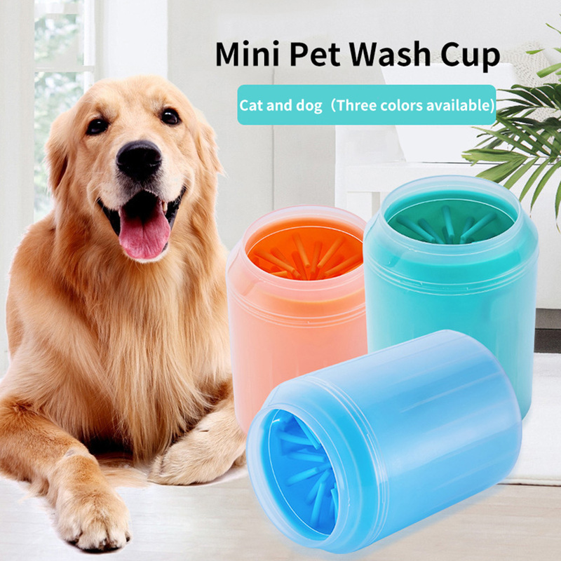 Portable <font><b>Dog</b></font> <font><b>Paw</b></font> <font><b>Cleaner</b></font> Cup Soft Silicone Combs Outdoor Pet Foot Washer <font><b>Paw</b></font> Clean Brush Quickly Wash Foot Cleaning Bucket image