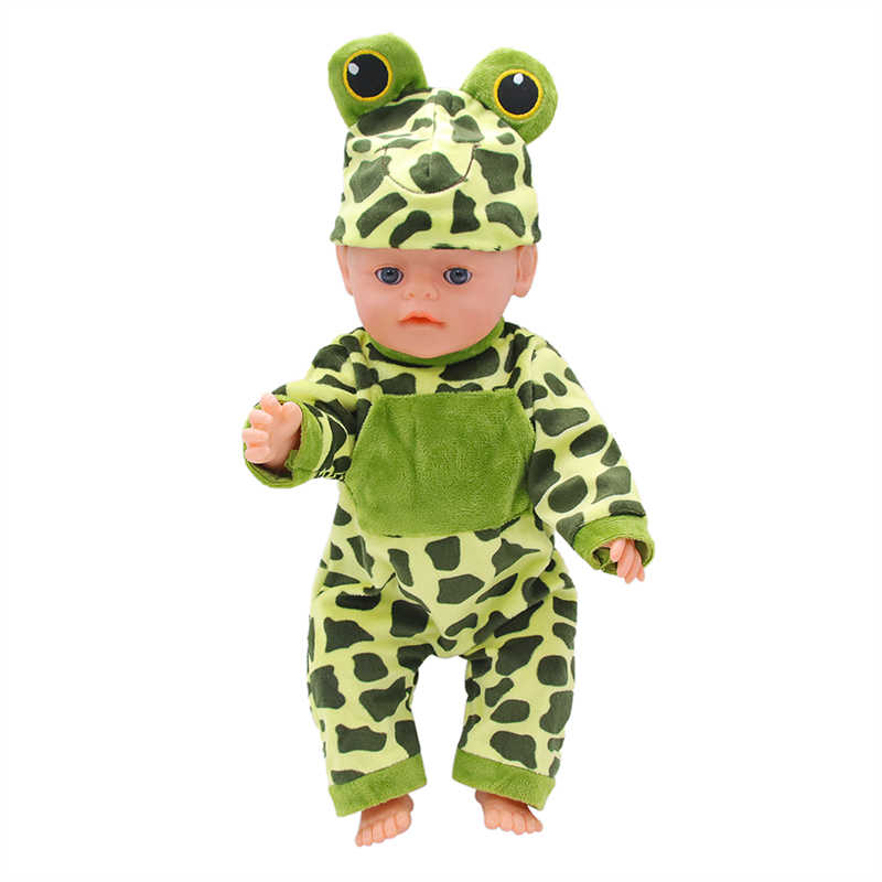 人形ジャンプスーツ漫画カエル人形の服のスーツ + 帽子のための私たちの世代新生児人形フィット 18 インチ 43 センチメートル人形ギフト