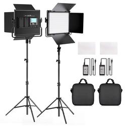 Портативная Светодиодная лампа для видеосъемки L4500K 2 в 1, двухцветная СВЕТОДИОДНАЯ панель со штативом для Youtube, видеосъемки