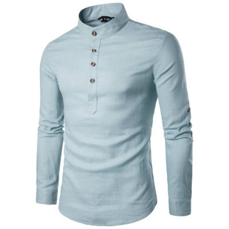 ZOGAA Men Business Dress Shirt Long Sleeve Undershirt Slim Solid Blouse Casual Stand Collar Mens Shirts Button High Quality Tops