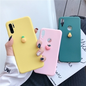 3D cute fruit silicone case on for huawei p40 p30 p20 p10 p9 p8 pro lite plus 2016 2017 candy color soft back cover funda coque(China)