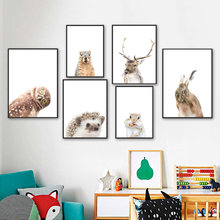 Funny Animal Bunny Deer Owl Groundhog Squirrel Nursery Wall Art Print Canvas Painting Nordic Poster Wall Picture Baby Room Decor