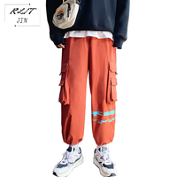 RLJT.JIN 2019 Multi-colored jogger style casual pants men High street country fashion unique pocket mens trousers Pencil pants