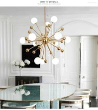 Ganeed Glass LED Chandelier Modern Ceiling Lamp Interior Decor Lighting for Living Dining Room Bedroom Kitchen Home Loft