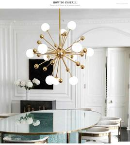Image 1 - Ganeed Glass LED Chandelier Modern Ceiling Lamp Interior Decor Lighting for Living Dining Room Bedroom Kitchen Home Loft