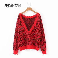 Red Leopard Sexy backless sweater women pullover jumper tops tassel knitted sweater loosepull femme 2019 winter clothes women