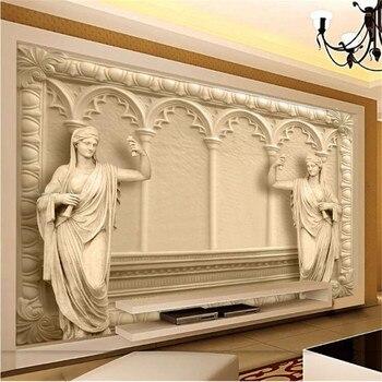 Milofi custom non-woven wall paper high-end luxury villa 3D European-style TV background wall large mural wallpaper цена 2017