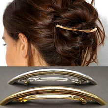 1 pcs Womens Metal Hair Clips Golden Copper Silver Plated Tube Shape Girls Barrette Hairgrip Female Care Styling Tool