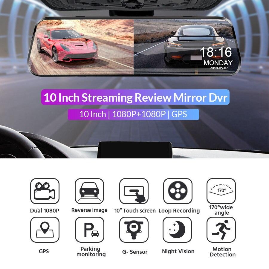 E-ACE Car Mirror Dvr 1080P FHD Dash Cam Dual Lens Video Recorder Night Vision Car Camera Registrar Dvrs With Rear View Camera 2