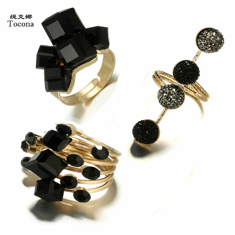 Tocona Vintage Antique Gold Black Rhinestone Opening Knuckle Finger Midi Rings Set for Women Punk Statement Jewelry бижутерия