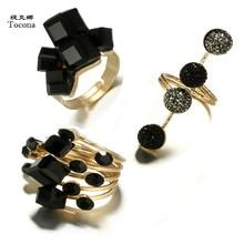 Tocona Vintage Antique Gold Black Rhinestone Opening Knuckle Finger Midi Rings Set for Women Punk Statement Jewelry бижутерия