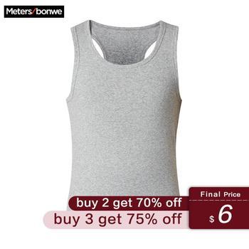 Metersbonwe Men's Basic Tees Summer Soft Vest Men Short Sleeve Cotton Flexible Vest Slim Basic Casual Tee