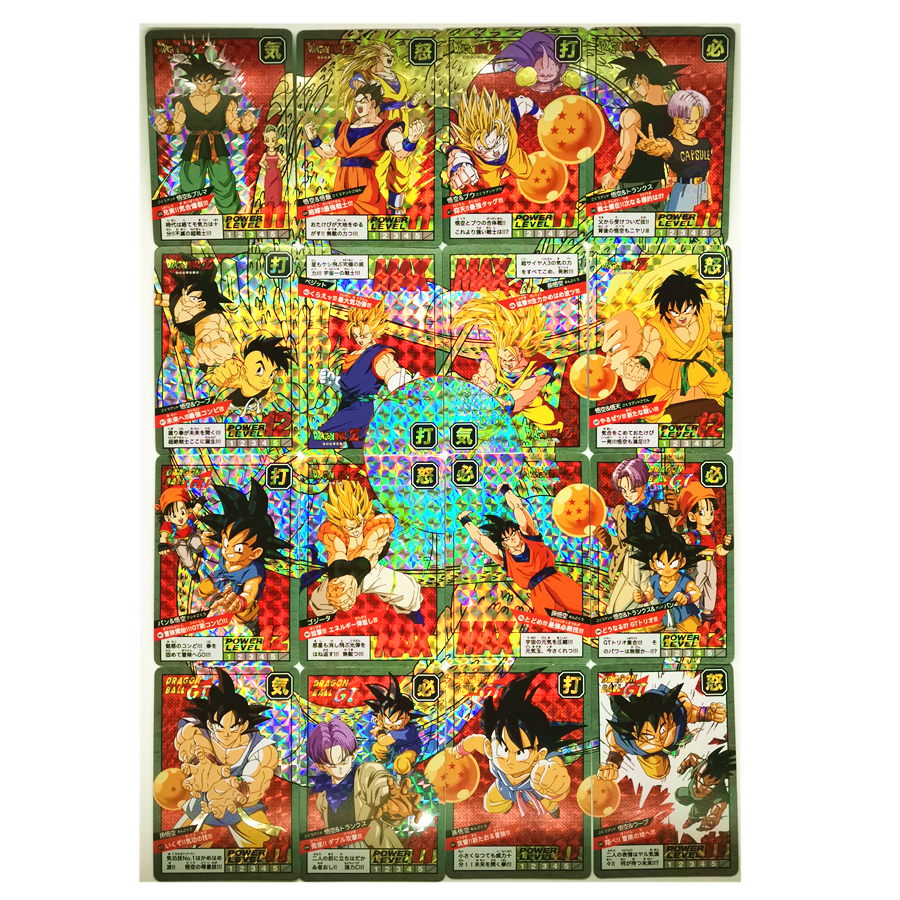 16pcs/set Reprint Dragon Ball Z Super Saiyan Fight Card 15-16 Rounds Toys Hobbies Collectibles Game Collection Anime Cards