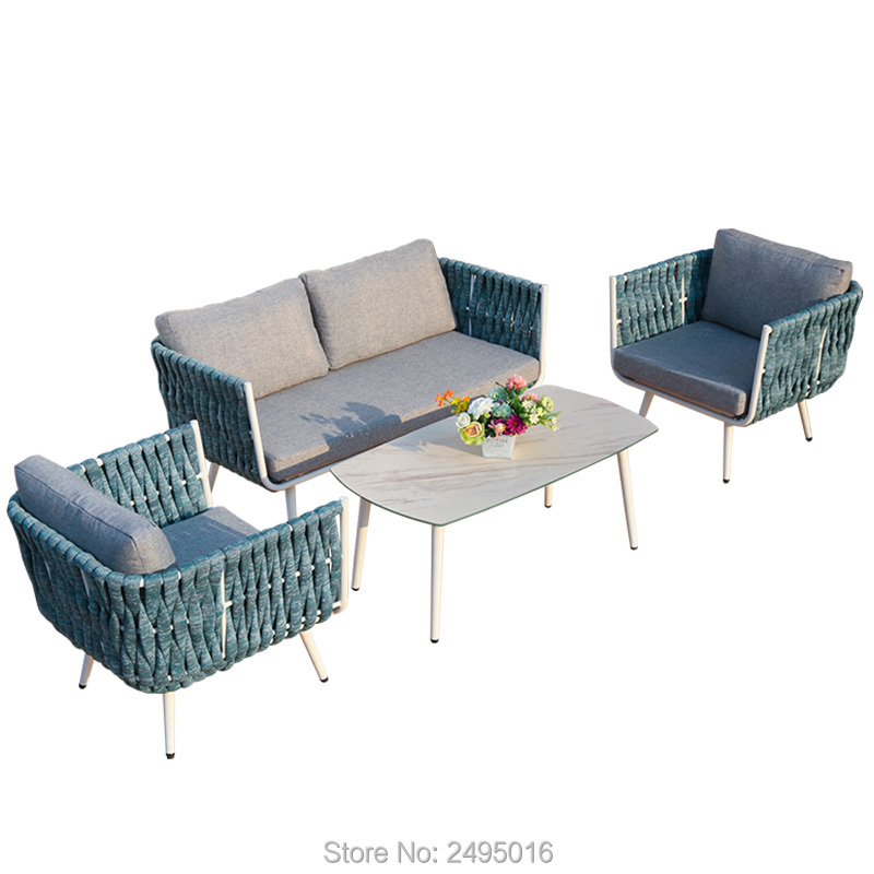 4 PCs Patio Furniture Sets All Weather EQ Rope Deep Seating Outdoor Sofa Conversation Set With Cushion ,coffee Table