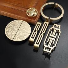 Nueva manija de la puerta del armario chino manija de oro cajón de la puerta del gabinete manija del gabinete de madera sólida antigua herrajes para muebles