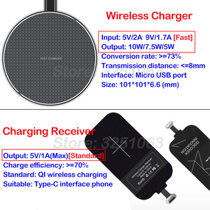 Image 4 - Wireless Charging for Xiaomi Mi 8 9 SE Lite 9T Pro 5X 6X A1 A2 A3 CC9e CC9 F1 Wireless Charger+USB Type C Receiver Gift TPU Case