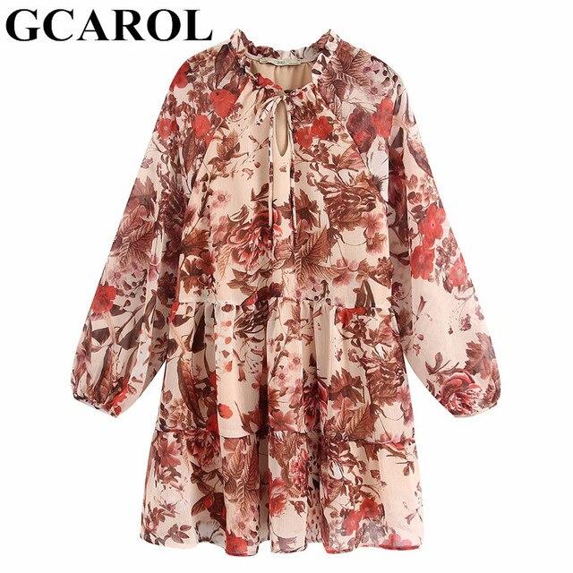 $ US $17.12 GCAROL 2020 Spring Summer Floral Tie UP Bowknot Dress Lantern Sleeve Ruffles Pleated Above Kneel Length Sweet Streetwear Dress