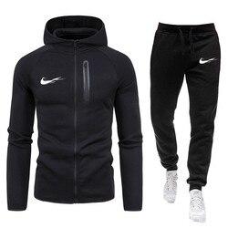 2021 New Printed Sportswear Men's Warm Men's Sportswear Suit cotton Hoodie + Pants Sports Suit