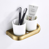 Simple Retro Toothbrush Cup Holder Brass Vintage Ceramic Cup New Style Bathroom Hook Unit Cups Toothbrush Boutique Luxury