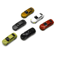 100pcs model color car toys for children 1:75 scale miniature abs plastic cars for diorama model architecture buildings making цена и фото
