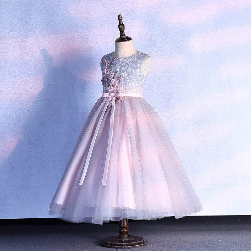Korean-style Children Wedding Dress Puffy Yarn Flower Boys/Flower Girls Piano Costume Long Skirts Girls Princess Dress Host Catw