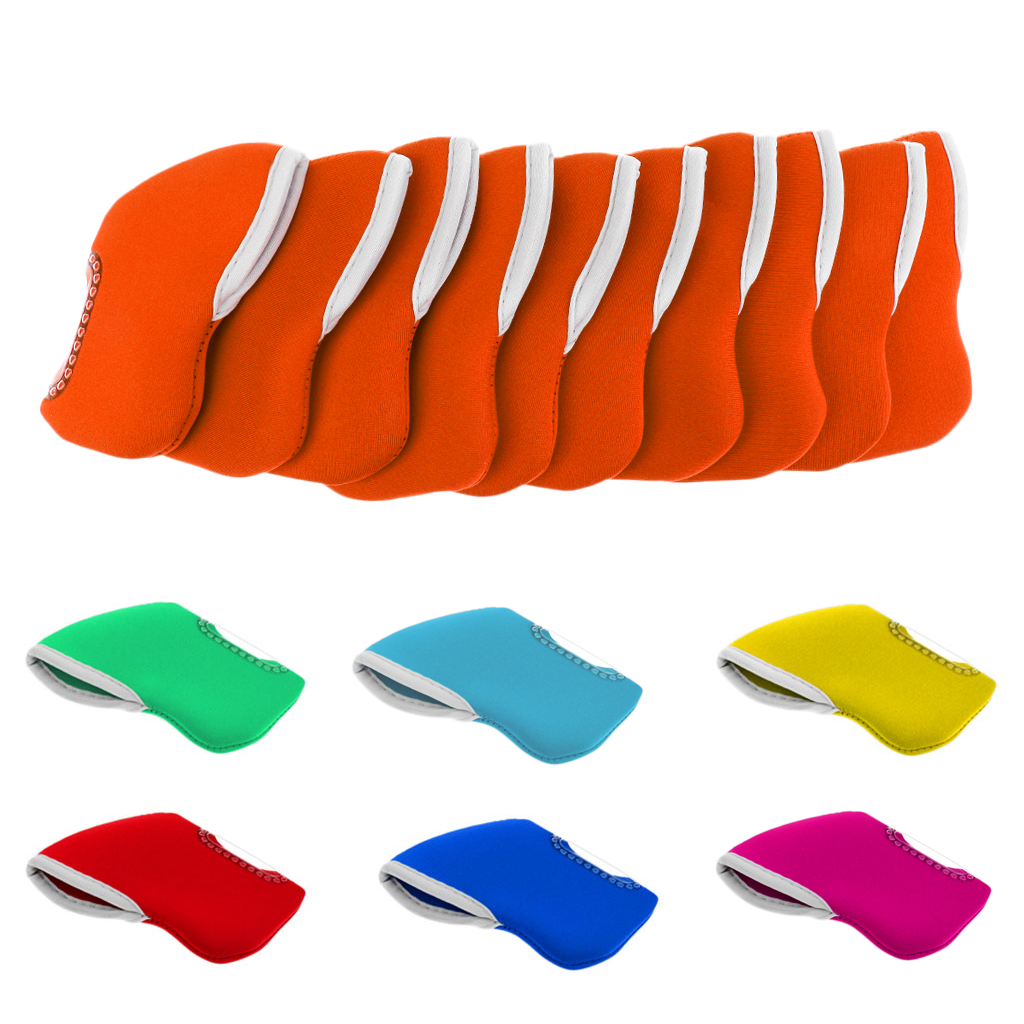Pack Of 10 Golf Iron Head Cover Wedge Headcovers - Golf Club Iron Protector - Neoprene Material - Choose Colors