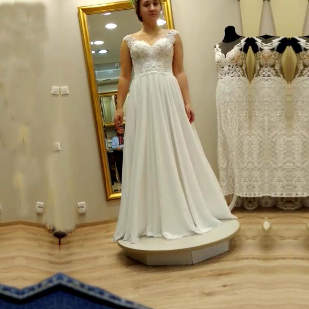 Chiffon Wedding Dress 2020 New With Lace Appliques Illusion Bridal Gown A Line Summer Wedding Dresses Custom Made Floor Length