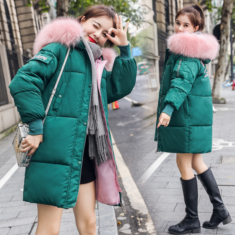 Large Fur Down Jacket Winter Women Ladies New Fashion Loose Hooded Cotton thick Jackets Coat Female Thick Long   Parkas   Outwear