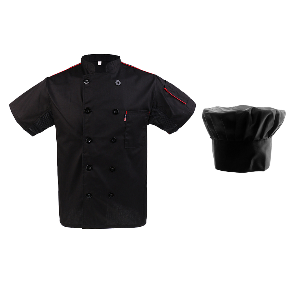 Durable Mens Chef Hat Mesh Chef Apparel Jacket Short Sleeves Professional Catering Kitchen Uniform Workwear L