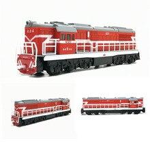 Locomotora de aleación de 1/87 para niños, tren de juguete con luz y sonido